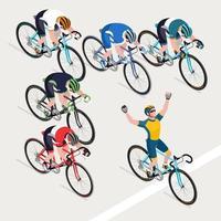 grupo de homens ciclistas corrida de bicicleta de estrada e o vencedor. vetor