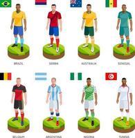 equipe mundial de camisa de jogador de futebol de futebol do grupo. ilustração vetorial. vetor