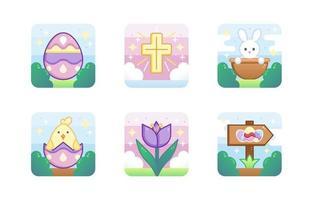 coleção de ícones de páscoa fofa vetor