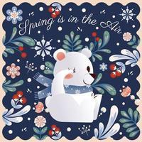 urso polar fofo com fundo floral primavera vetor