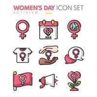 coleção de ícones do dia das mulheres em design plano vetor