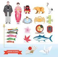 ícones do Japão. ilustrações vetoriais. vetor