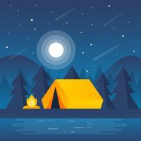 Ilustração de cena de acampamento de noite vetor