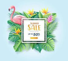 cartão de venda de verão com flamingo rosa em fundo de corte de papel de folha tropical. ilustração vetorial vetor