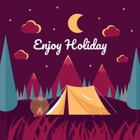 Noite acampar ilustração vetorial vetor