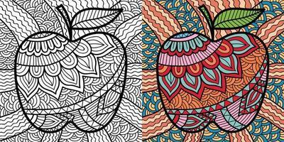 doodle apple colorir livro para adultos e crianças. vetor