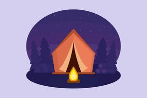 Vetor de acampamento de noite