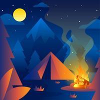 Vetor de floresta de fogo acampamento noite