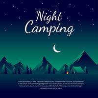 Vetor de modelo de acampamento de noite