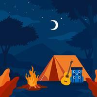 Vetor de férias de acampamento à noite