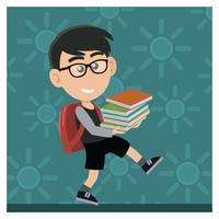Rapaz carregando livros vetor