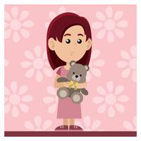 Menina com boneca vetor
