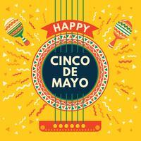 Cartão mexicano de cinco de Mayo com guitarra acústica e fundo de Maracas vetor