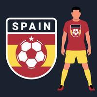 Conjunto de modelo de design de emblema de campeonato de futebol espanhol vetor