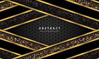 fundo abstrato com camadas de sobreposição pretas. textura com linha de ouro e decoração de elemento de pontos de brilho de ouro. vetor