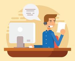 Caráter de Atendimento ao Cliente vetor