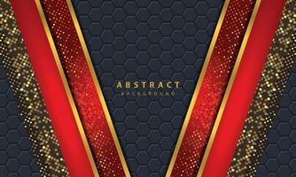 fundo abstrato escuro com camadas pretas de sobreposição. textura com decoração de elemento de efeito de linha dourada. vetor de fundo vermelho.