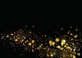 textura glitter dourados isolada com bokeh em fundo preto. partículas cor comemorativas. explosão dourada de design de confete. ilustração vetorial vetor