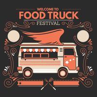 Cartaz de Festival de comida de rua com estilo desenhado à mão e Retro vetor