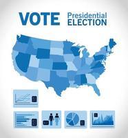 votação para eleição presidencial com mapa infográfico vetor