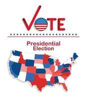 votação da eleição presidencial com desenho vetorial de mapa vetor