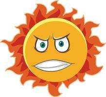 personagem de desenho animado do sol com expressão de raiva no fundo branco vetor