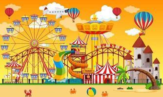 cena de parque de diversões durante o dia com balões no céu vetor