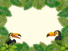 banner vazio com moldura de folhas tropicais e personagem de desenho animado tucano vetor