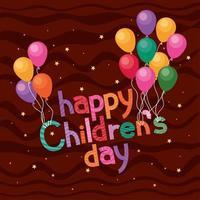 feliz dia das crianças com desenho vetorial de balões vetor