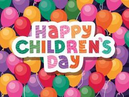 feliz dia das crianças no design de vetor de fundo de balões