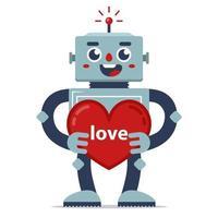 robô fofo dá dia dos namorados. declaração de amor. inteligência artificial. relacionamento no futuro. ilustração vetorial de personagem plana