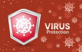 banner de proteção contra vírus covid 19 com escudo vetor
