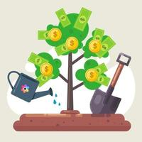 plante uma árvore de dinheiro com notas e moedas. regar. cavar um buraco. pá de madeira. ilustração vetorial plana. vetor
