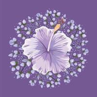 desenho vetorial de pintura de flores roxas havaianas vetor