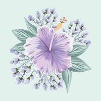 flor roxa havaiana com folhas pintando desenho vetorial vetor