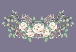 flores rosas brancas com folhas pintando desenho vetorial vetor