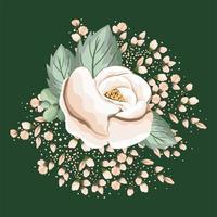 flor rosa branca com folhas pintando desenho vetorial vetor