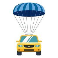 carro amarelo desce do céu à terra de paraquedas. seguro de propriedade. ilustração vetorial plana. vetor
