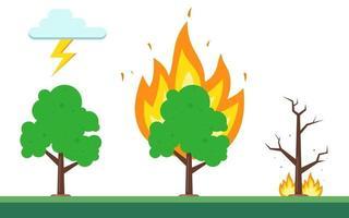 sequência de fogo na floresta. a natureza natural do fogo. ilustração vetorial plana. vetor