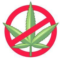 banir a maconha. as drogas são ilegais. ilustração vetorial plana. vetor