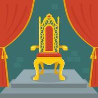 trono dourado com veludo vermelho. reino das fadas. ilustração vetorial plana.