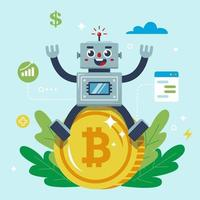 o robô está sentado em uma moeda bitcoin. ilustração em vetor personagem plana.