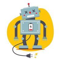 o robô está desconectado. precisa recarregar. fome elétrica. personagem de vetor plana.