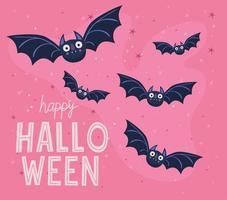 desenho vetorial de morcegos de halloween vetor