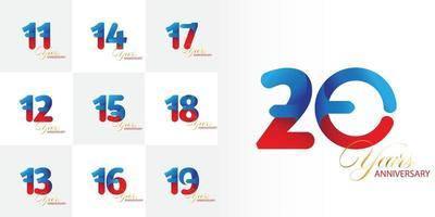 conjunto de números de celebração de aniversário de 11, 12, 13, 14, 15, 16, 17, 18, 19, 20 anos vetor