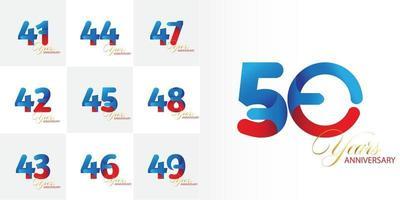 conjunto de números de aniversário de 41, 42, 43, 44, 45, 46, 47, 48, 49, 50 anos vetor