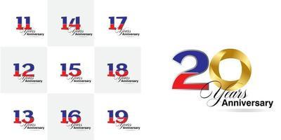 conjunto de 11, 12, 13, 14, 15, 16, 16, 17, 18, 19, conjunto de números de aniversário de 20 anos vetor