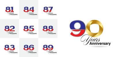 conjunto de 81, 82, 83, 84, 85, 86, 87, 88, 89, 90 anos de celebração do aniversário definido vetor