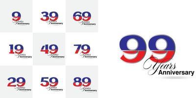 conjunto de números de celebração de aniversário de 9, 19, 29, 39, 49, 59, 69, 79, 89, 99 anos vetor