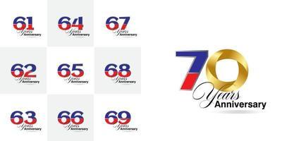 definir 61, 62, 63, 64, 65, 66, 67, 68, 69, 70 anos de comemoração do aniversário definido vetor